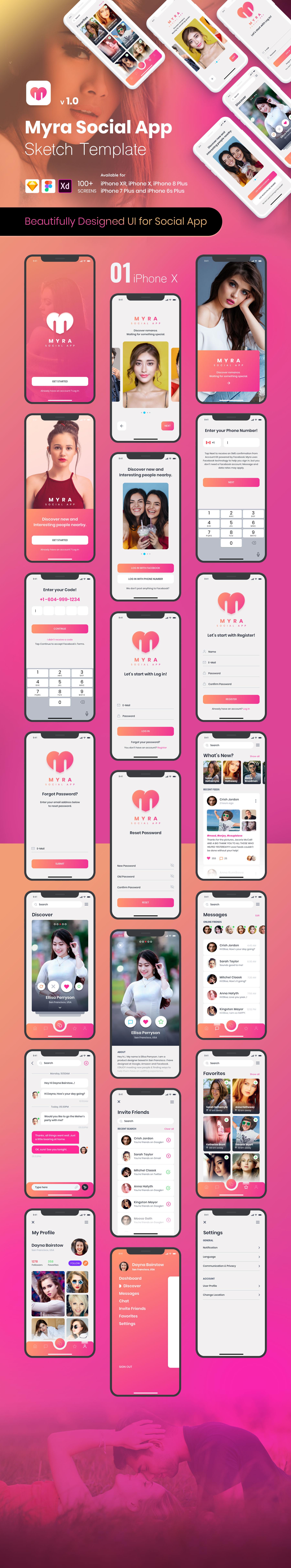Myra Social App Sketch Template
