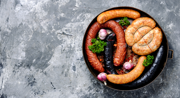 Smoked meats and sausages - Stock Photo - Images