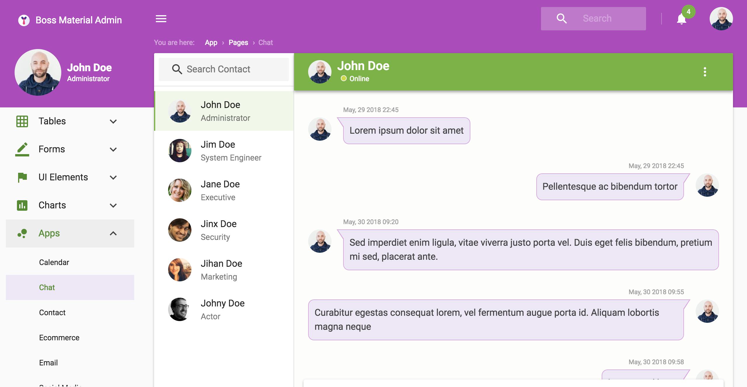 Boss Ultimate - React Admin Template Material Design