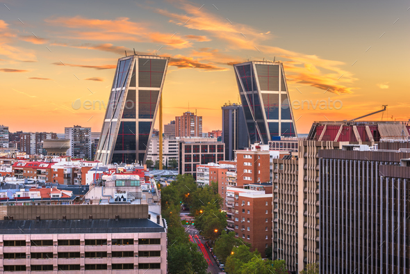 Madrid, Spain financial district skyline at dusk. - Stock Photo - Images