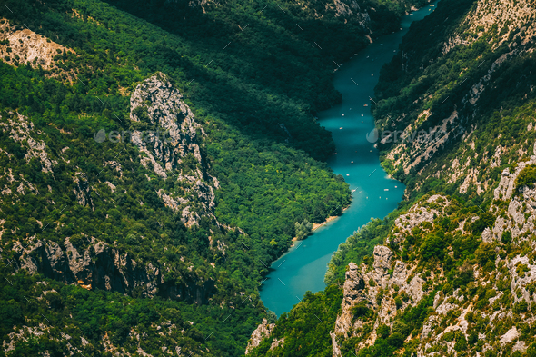 Beautiful landscape of the Verdon Gorge and river Le Verdon in s - Stock Photo - Images