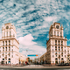 Minsk, Belarus. Two Buildings Towers Symbolizing The Gates Of Mi - PhotoDune Item for Sale