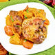 Chicken roast with pumpkin and carrots on green towel - PhotoDune Item for Sale