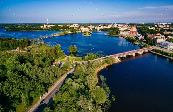 Aerial view of Vyborg city panorama, Russia. - Stock Photo - Images