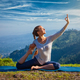 Sorty fit woman doing yoga asana outdoors in mountains - PhotoDune Item for Sale