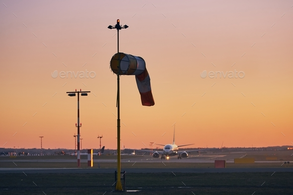 Airport at sunset - Stock Photo - Images