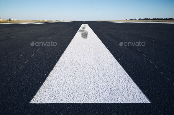 Surface level of airport runway - Stock Photo - Images