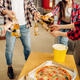 Friends with beer, pizza and popcorn at home party - PhotoDune Item for Sale