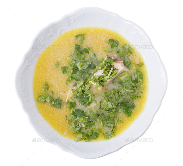 Delicious georgian chicken soup with yolks. - Stock Photo - Images