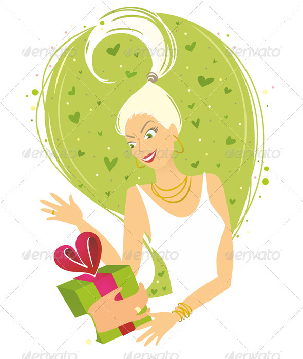Woman Receiving Gift - People Characters