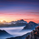 Mountains in fog at beautiful sunset in autumn - PhotoDune Item for Sale