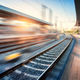 Railway station with motion blur effect at sunset - PhotoDune Item for Sale