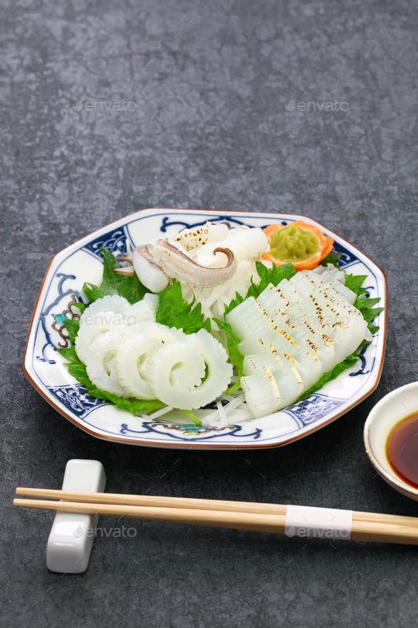 cuttlefish sashimi, japanese cuisine - Stock Photo - Images