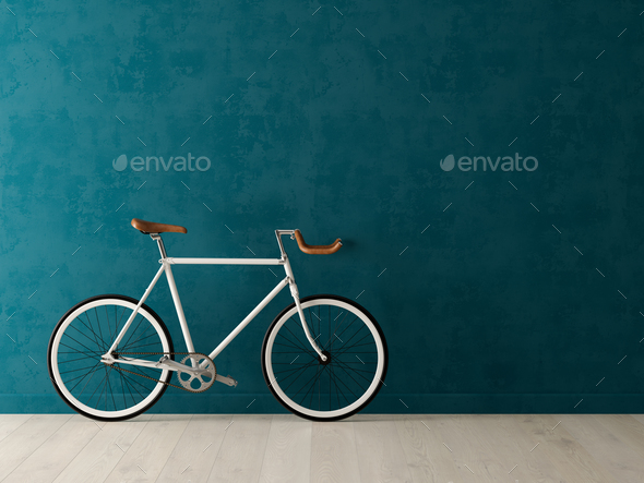 Blue bicycle on pink background 3D illustration - Stock Photo - Images
