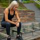 Fitness runner on mobile smart phone app tracking progress for motivation - PhotoDune Item for Sale