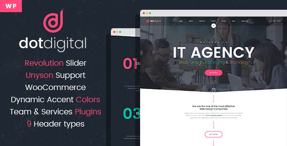 Download DotDigital – Web Design Agency WordPress Theme nulled preview image 01