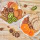 Healthy snacks -  variety oat granola bar,  rice crips, almond,  kiwi, dried orange - PhotoDune Item for Sale