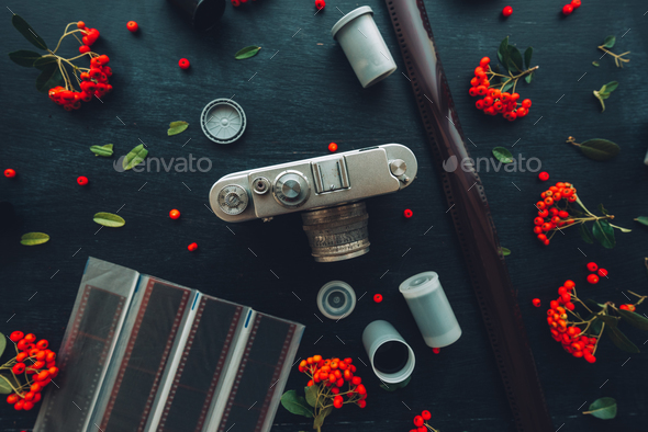 Flat lay hipster style old vintage photography camera - Stock Photo - Images