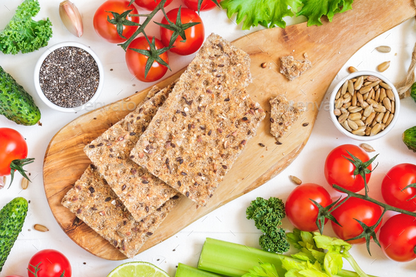 Top view of whole grain rye crispbreads - Stock Photo - Images