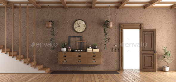 Retro home entrace with open door - Stock Photo - Images