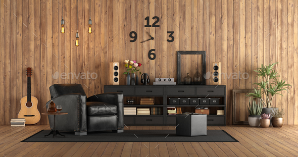 Living room in rustc style with audio equipment - Stock Photo - Images