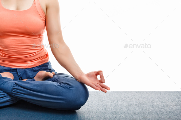 Close up yoga asana Padmasana Lotus pose - Stock Photo - Images