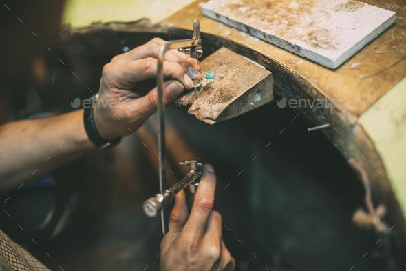 Jeweler crafting jewelry - Stock Photo - Images