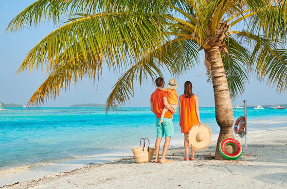 Family of three on beach under palm tree - Stock Photo - Images