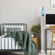 Copy space on empty grey wall of chic bedroom  - PhotoDune Item for Sale