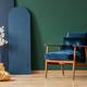 Retro dark blue armchair in elegant, living room - PhotoDune Item for Sale