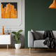 Dark green wall in grey and orange living room interior - PhotoDune Item for Sale