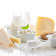 Variation of dairy products on white background - PhotoDune Item for Sale