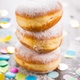 Krapfen, Berliner or donuts with streamers and confetti - PhotoDune Item for Sale