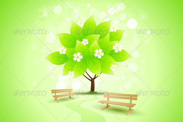 Abstract Green Tree Background with Flowers - Backgrounds Decorative