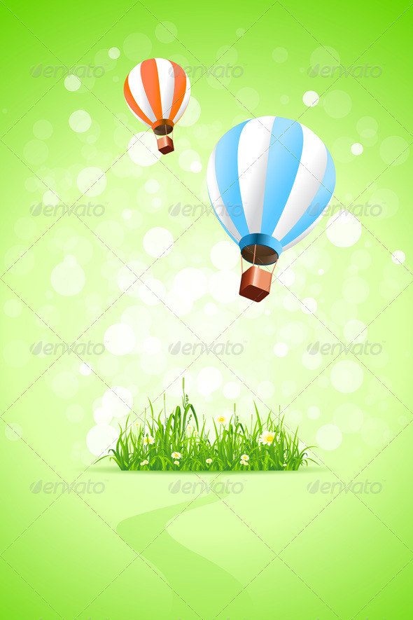 Green Background with Grass and Hot Air Balloons - Backgrounds Decorative