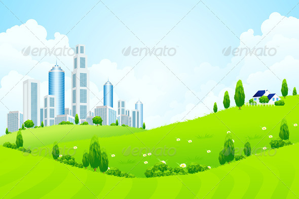 Green Landscape with City and Clouds - Landscapes Nature