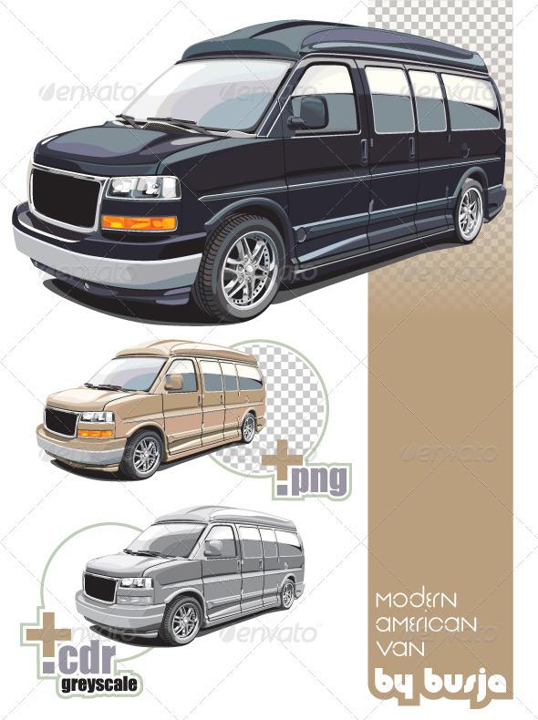 Modern American Van - Objects Vectors