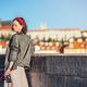 Attractive girl with retro camera on the bridge - PhotoDune Item for Sale