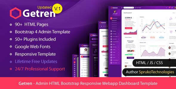 Getren – Admin HTML Bootstrap4 Responsive Webapp Dashboard Template
