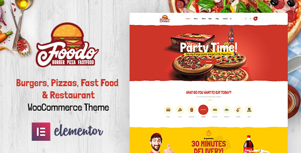 Download Foodo – Fast Food Restaurant WordPress Theme nulled 01 Preview