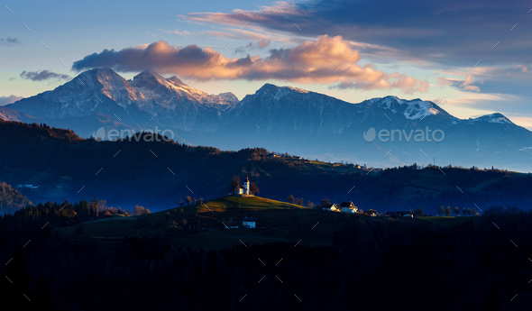 The church of St. Thomas at sunrise, Slovenia - Stock Photo - Images