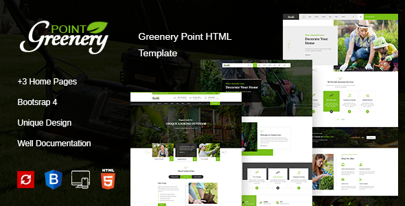 Greenery Point - Lawn, Landscaping & Gardening HTML Template + RTL