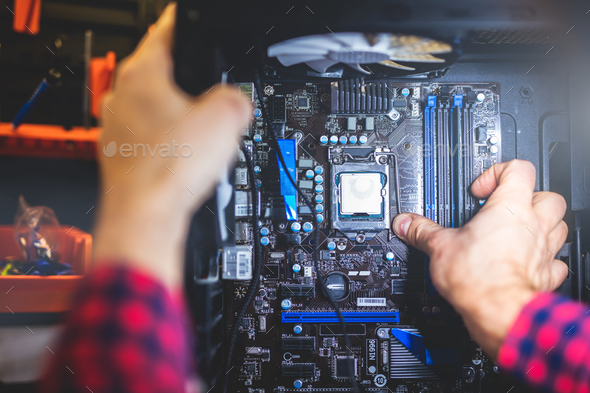IT service and man fixing a PC - Stock Photo - Images