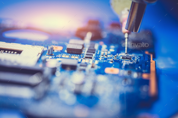 CPU board of a computer in a close-up. - Stock Photo - Images
