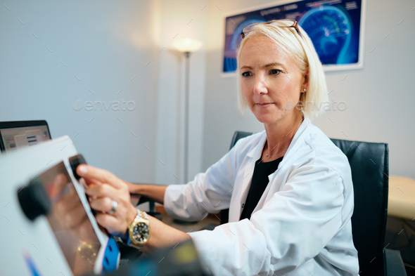 Doctor Woman Working In Hospital Office With Computer Technology Equipment - Stock Photo - Images