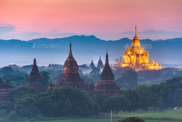 Bagan, Myanmar ancient temple ruins landscape in the archaeologi - Stock Photo - Images