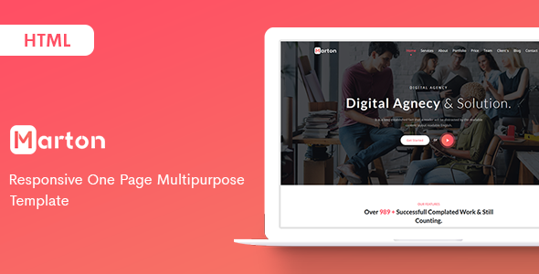 Marton - Responsive One Page Multipurpose Template by ThemesBoss