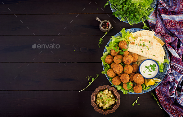 Falafel, hummus and pita. Middle eastern or arabic dishes - Stock Photo - Images