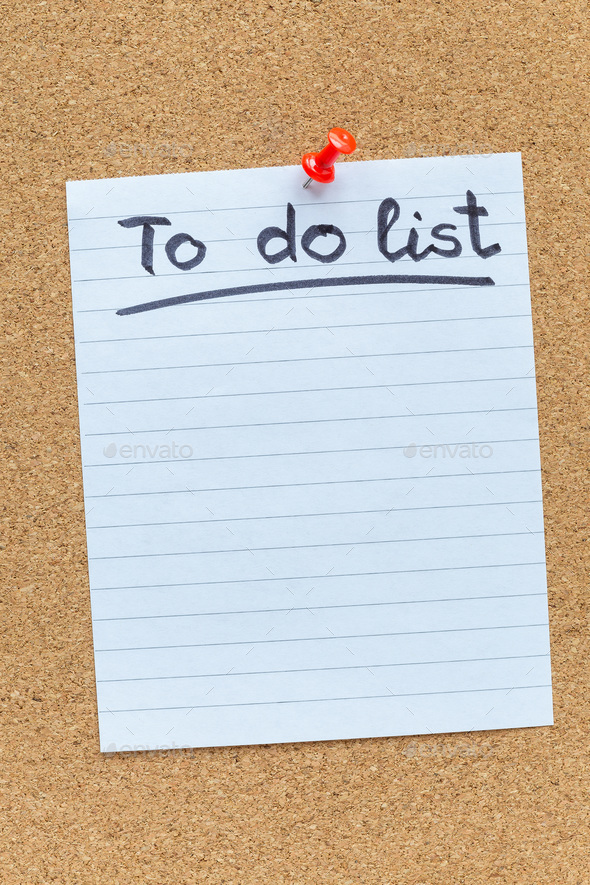 photo about Blank to Do List known as Cork memory board with a pinned blank in direction of do record paper, vertical