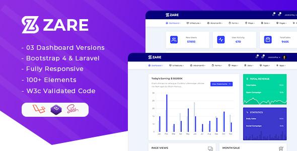 Zare – Bootstrap 4 + Laravel Admin Dashboard Template